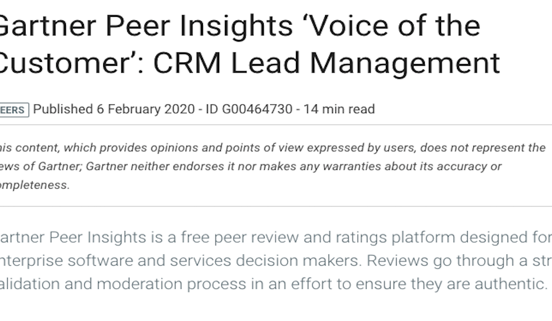 "Gartner Peer Insignts ""Voice of the customer"""